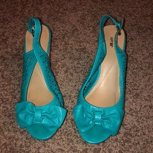 Kailey Turquoise cork open toe slingback wedges